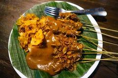 Satay Padang met kruidig kruidenvoedsel kenmerkend van het Indonesische Padang-gebied royalty-vrije stock fotografie