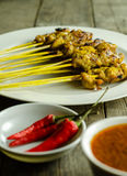 Satay and Peanut sauce. Asian food Satay and Peanut Sauce on table royalty free stock photos