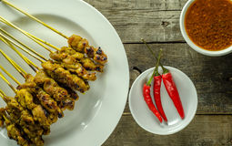 Satay and Peanut Sauce. Asian food Satay and peanut sauce on table stock photography