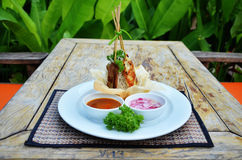 Satay Pork in Peanut Sauce. Satay or sate, is a dish of seasoned, skewered and grilled meat, served with a sauce. Satay may consist of diced or sliced chicken Stock Images