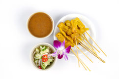 Satay Pork in Peanut Sauce Royalty Free Stock Photography