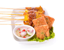 Satay Pork with pork buns. Isolated on white background Royalty Free Stock Photo