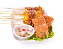 Satay Pork with pork buns Royalty Free Stock Photo