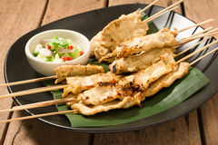 Satay pork thai appetizer. Royalty Free Stock Images