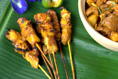 Satay or Sate. Sate Ayam, famous food in Southeast Asia. chicken grill Stock Photography