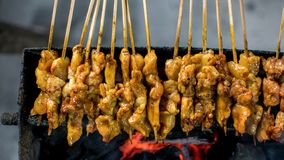 Satay or sate is an Indonesian and Malaysian dish consisting of small pieces of meat. Grilled on a skewer and served with a spiced sauce that typically contains royalty free stock images