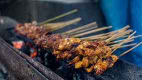 Satay or sate is an Indonesian and Malaysian dish consisting of small pieces of meat. Grilled on a skewer and served with a spiced sauce that typically contains stock images