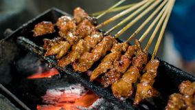 Satay or sate is an Indonesian and Malaysian dish consisting of small pieces of meat. Grilled on a skewer and served with a spiced sauce that typically contains royalty free stock image