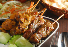 Satay skewer meat Stock Photos