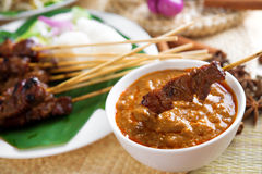 Satay skewered and grilled meat Royalty Free Stock Photo