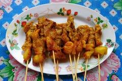 satay thai för meat Arkivfoto