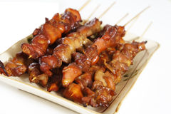 Satays de poulet Photos stock