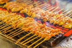 Satays grelhados da carne de porco no forno do fogão Imagem de Stock Royalty Free