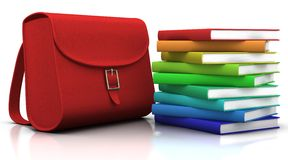 Satchel and books Royalty Free Stock Photo