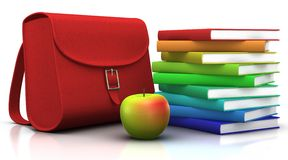 Satchel, books and apple. Red satchel and a stack of colorfull books with an apple in front of them - 3d illustration/rendering Stock Images