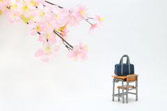 Satchel and cherry blossoms on white background. Stock Photo