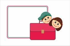 Satchel, children, school. Children, girl and boy, and school satchel Stock Photos