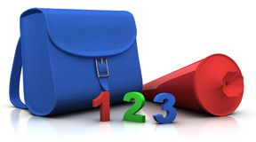 Satchel and 'schultuete' and 123. Blue satchel and red conical bag of sweets with 123 numbers - 3d rendering/illustration Stock Photos