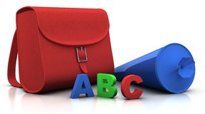 Satchel and 'schultuete' and ABC Stock Image