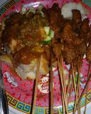 Sate lontong. Makan Indonesia Kota banjar Stock Photo