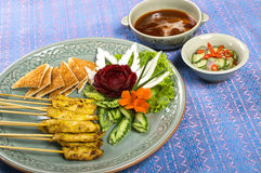 Sate pork full set with sorce and chilly Stock Photo