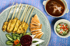 Sate pork full set with sorce and chilly Royalty Free Stock Photo