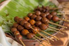 Sate telur puyuh. Indonesian bird`s egg satay stock photography