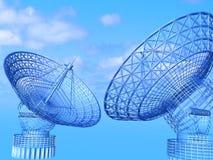 satelitą jest narożnikowy naczyń dom instalującym Zdjęcia Stock