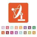 Satelitarnej anteny ikona Komunikuje i transmituje, telekomunikacja symbol mieszkanie ilustracja wektor