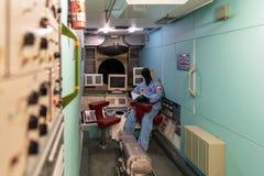 Satelitarni modułów szczegóły na pokazie wśrodku muzeum kosmonautyka Obrazy Stock