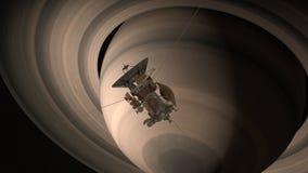 Satelitarny Cassini zbliża się Saturn Cassini Huygens jest bezpilotowym statkiem kosmicznym wysyłającym planeta Saturn CG animacj Obraz Stock