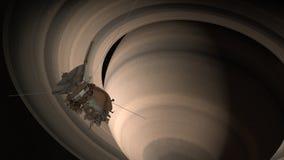 Satelitarny Cassini zbliża się Saturn Cassini Huygens jest bezpilotowym statkiem kosmicznym wysyłającym planeta Saturn CG animacj Obraz Royalty Free