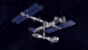 Satelitarny staci kosmicznej latanie ilustracja wektor