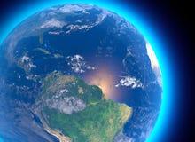 Satelitarny widok amazonka, mapa, stany Ameryka Południowa, ulgi i równiny, fizyczna mapa Lasowy wylesienie ilustracja wektor