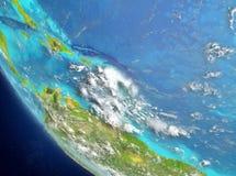Satelitarny widok Karaiby w czerwieni Obrazy Royalty Free