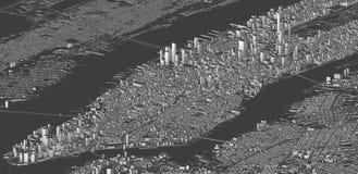 Satelitarny widok Nowy Jork miasto, mapa, 3d budynki, 3d rendering ilustracji