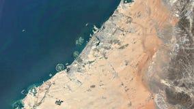 Satelitarny widoku timelapse Dubaj przyrost 1984-2016 ilustracja wektor