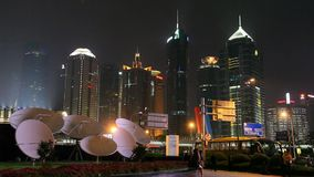 Satelite antennas in Business district in Shanghai, China stock footage