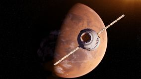 A satelite. 3d rendered illustration of a satelite infront of mars royalty free illustration
