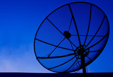 Satelite dish on blue sky Royalty Free Stock Photo