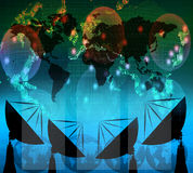 Satelite dish and digital data on blue color. Theme use for multipurpose vector illustration