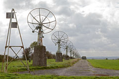Satelite dish old radio telescopes. Satelite dish old astronimy radio telescopes line of radar communication and investigation dishes or antenna Royalty Free Stock Images