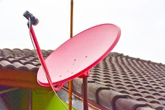 Satelite dish. On the roof Royalty Free Stock Photo
