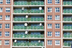Satelite dishes. On an appartment building Stock Image