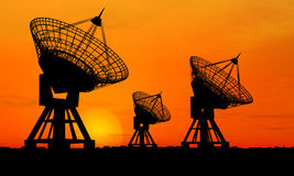 Satelite Dishes. Three satelite dishes over sunset (see more in my portfoilo Royalty Free Stock Images