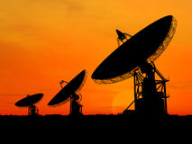 Satelite Dishes. Three satelite dishes over sunset Stock Images