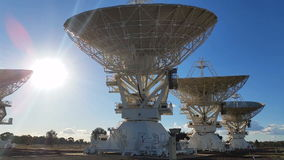 Satelite Dishes - Moving Radio Telescope Compact Array - Space Science. Satelite Dishes and communication. The Australia Telescope Compact Array (ATCA), at the stock video footage