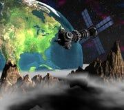 Satelite sputnik orbiting earth. Satelite sputnik orbiting 3d earth Royalty Free Stock Images