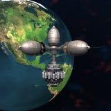 Satelite sputnik orbiting earth. Satelite sputnik orbiting 3d earth in space Stock Photography