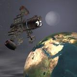Satelite sputnik orbiting earth. In space Stock Images